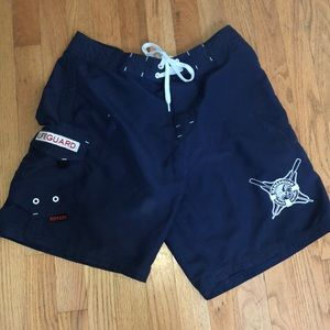 Maui rippers size 32 bathing suit shorts navy blue